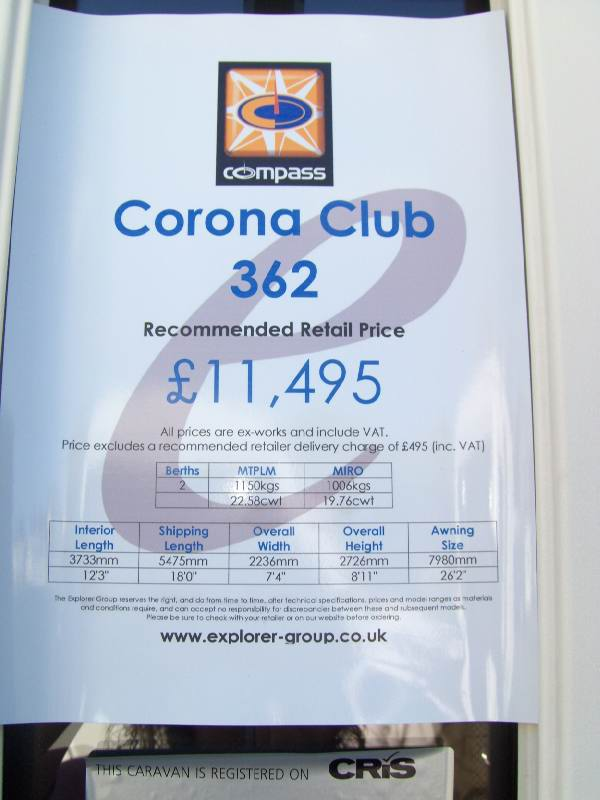 Compass Corona 362 2008 Spec Sheet